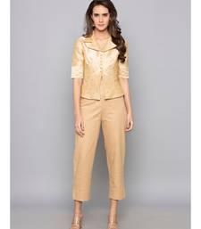 beige plain cotton trousers