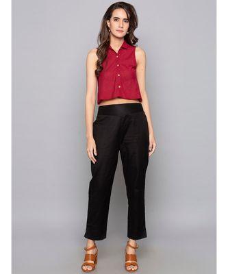 black plain cotton trousers