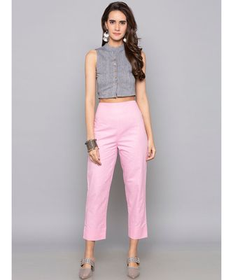 pink plain cotton trousers