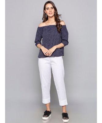 white plain cotton trousers