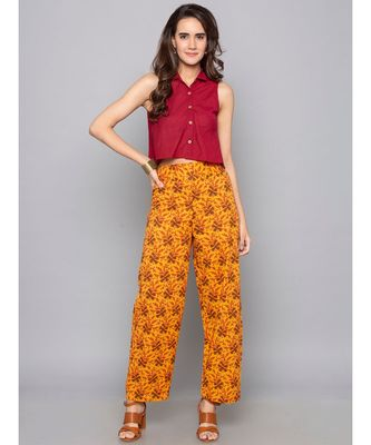 orange plain cotton trousers