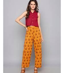 orange plain cotton trousers