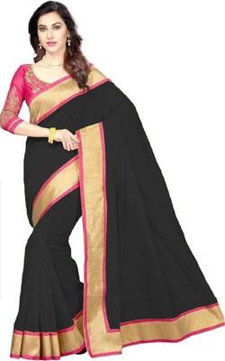 Black plain Chanderi Cotton  Saree with Embriodered blouse Piece.