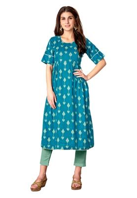 Blissta Turquoise Blue Cotton Printed Anarkali Kurti