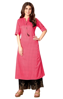 Blissta Pink Rayon Cotton Printed A-Line Kurti With Pocket