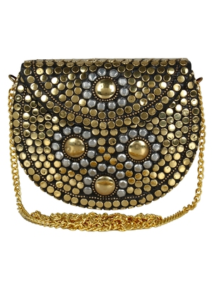 Jewel Mosaic Metal Clutch Gold and Siver