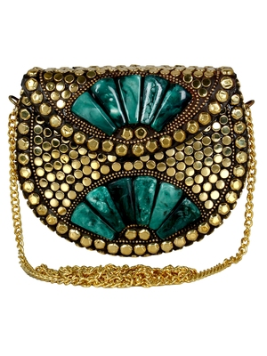 Jewel Mosaic Metal Clutch Silver and Green