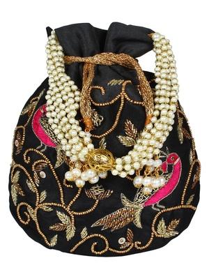 Dazzle Embellished Faux Silk Potli Black & Multicolour