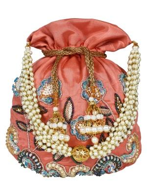 Dazzle Embellished Faux Silk Potli Peach & Multicolour