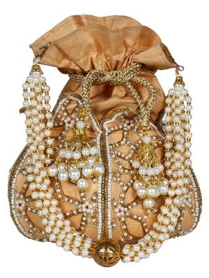 Lotus Embellished Faux Silk Potli Natural & Gold