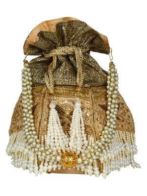 Lotus Embellished Faux Silk Potli Gold & White