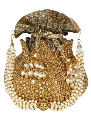 Lotus Embroidered Faux Silk Potli Gold