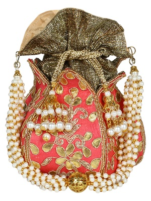 Lotus Embroidered Faux Silk Potli Pink & Gold