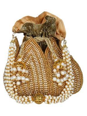 Lotus Embellished Faux Silk Potli Gold