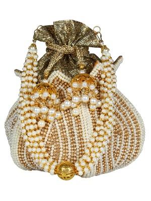 Lotus Embellished Faux Silk Potli White & Gold
