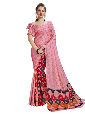 Pink Printed Shimmer Sarees With Unstitched Blouse