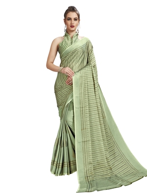 Green Printed Shimmer Sarees With Unstitched Blouse