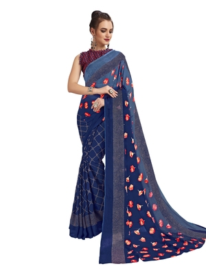 Navy Blue Printed Shimmer Sarees With Unstitched Blouse