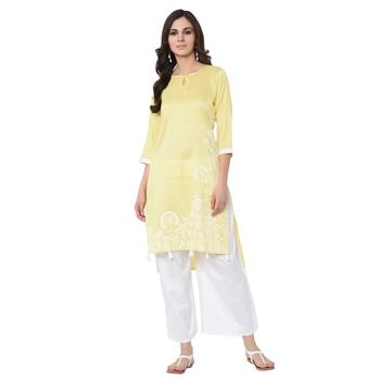 Women's Yellow Khadi Print Straight Polysilk Kurta Palazzo Set