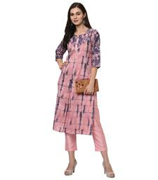 Women's Pink Digital Print Straight Polysilk Kurta Pant Set