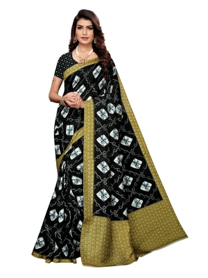 Black Printed Silk Blend Sarees With Unstitched Blouse