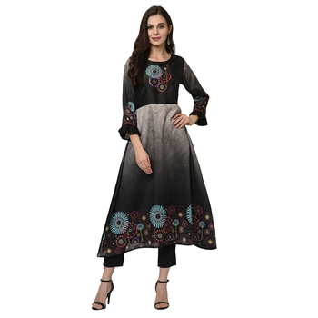 Women's Black Digital Print A-LINE Polysilk Kurta Pant Set