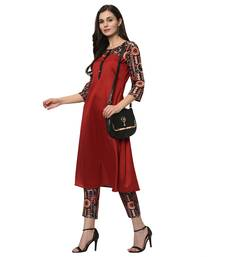 Women's Red Digital Print A-LINE Polysilk Kurta Pant Set