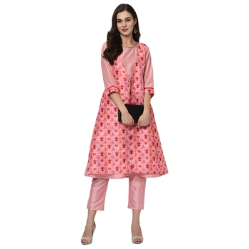 Women's Pink Digital Print A-LINE Polysilk Kurta Pant Set