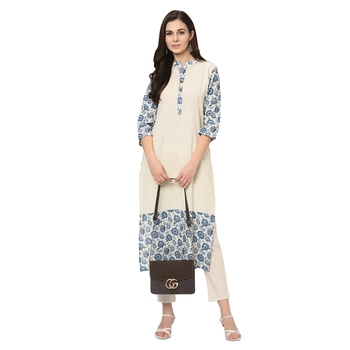 Women's Off White Digital Print Straight Flax Kurti