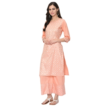 Women's Peach Foil Print Straight Polysilk Kurti