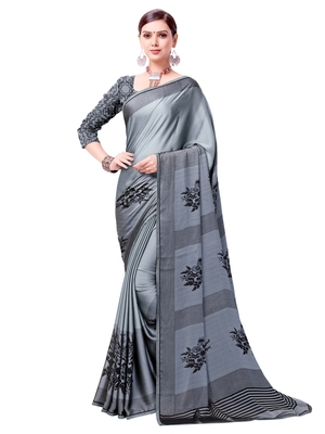 Grey Printed Shimmer Sarees With Unstitched Blouse