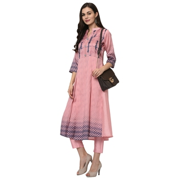 Women's Pink Digital Print Flared Polysilk Kurta
