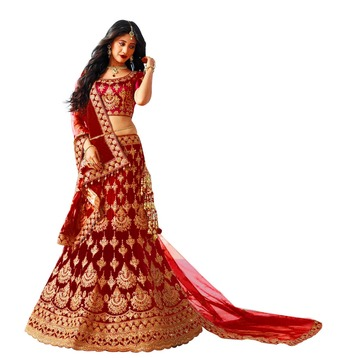 red embroidered satin with blouse stylish lahengha choli