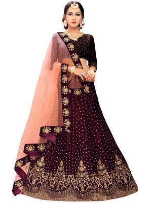 Purple  Embroidered Satin With Blouse Stylish Lahengha Choli