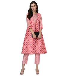 Women's Pink Digital Print A-LINE Polysilk Kurti