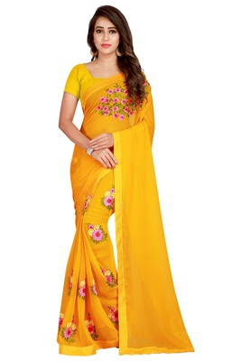 Mustar Embriodered Fancy Fabrics Saree With Lace and Blouse Piece.