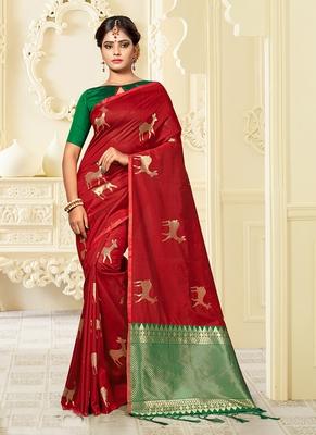 Maroon plain banarasi saree with blouse