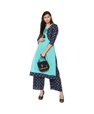 Women's Summer Blue Color Jacket Style Digital Print Kurta Palazzo Set
