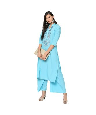 Women's Light Blue Color Straight Foil Print Kurta Palazzo Set