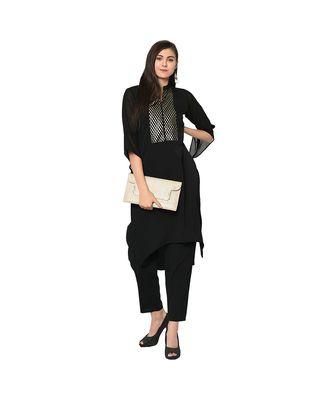 Women's Black Color Straight Foil Print Kurta Pant Set