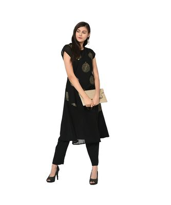 Women's Black Color Flared Foil Print Kurta Pant Set