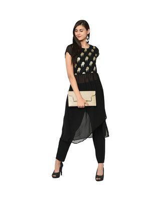 Women's Black Color A-Line Foil Print Kurta Pant Set