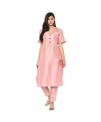 Women's Pink Color Straight Foil Print Kurta Pant Set