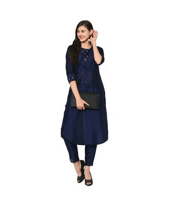 Women's Navy Blue Color Straight Foil Print Kurta Pant Set