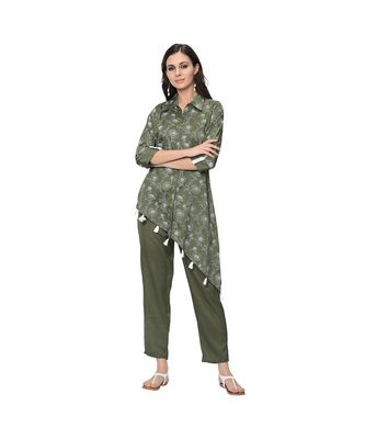 Women's Green Khadi Print Straight Polysilk Kurta Pant Set