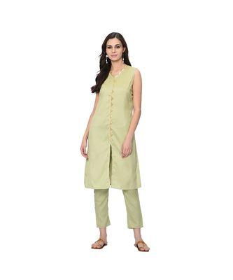 Women's Light Green Solid Straight Polysilk Kurta Pant Set