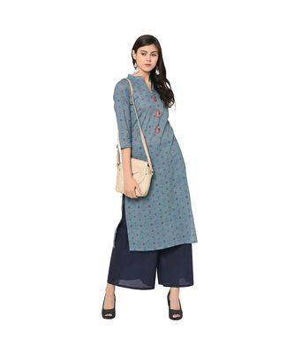 Women's Blue Color Straight Digital Print Kurti