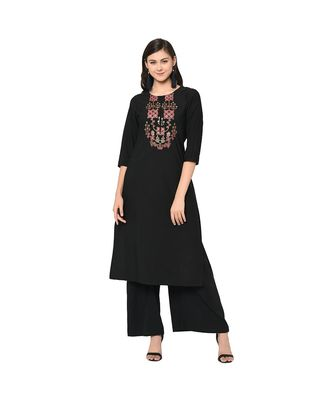 Women's Black Color Straight Foil Print Kurti
