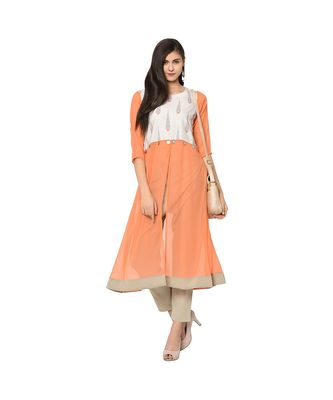 Women's Orange Color Flared Digital Print Kurti