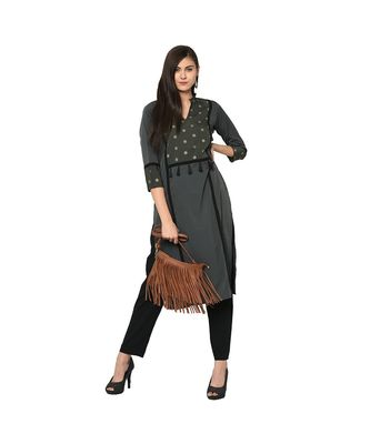 Women's Grey Color Straight Foil Print Kurta